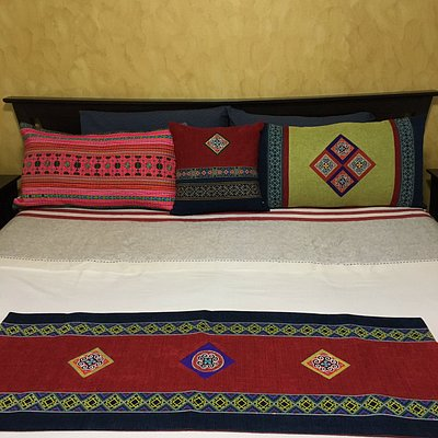 Cushion cover, pillow covers and table runner