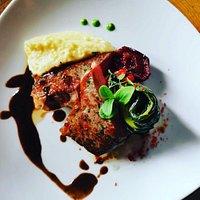 "Sirloin Steak with beef from ""Kesslerhof"" in Klosters, Swiss chard, Potato Puree and ""Malians"" Red Wine Gravy"