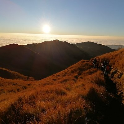 Mount Pulag trail frm the summit with view of sea of clouds below