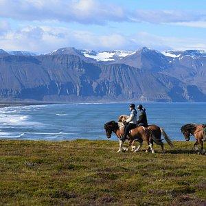 riding on the cliffs of Skjálfandi bay