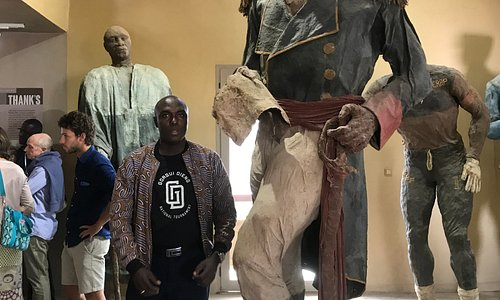 At House Of  Ousmane SOW,with visitors, Les Grands Hommes the name of the exibition