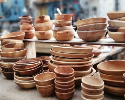 selection of handcrafted traditional bowls ready for a market