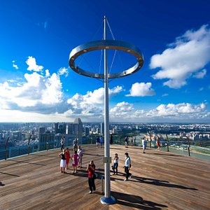 The Sands SkyPark Observation Deck boasts scenic views of the panoramic vistas of Marina Bay and Singapore's world-class cityscape.
