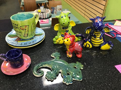 Pottery painted and glazed
