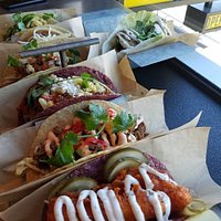 So many tacos ... fried tofu and pickles = amazing combo