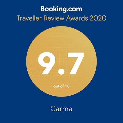 Carma's award of excellence from Booking.com for 2020.