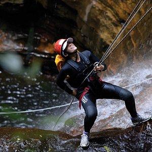 Descending Empress Falls with its spectacular 30 metre abseil/rappel.