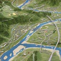川口地域のジオラマ。川の合流地点であることがわかります