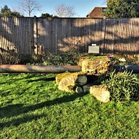 11.  Marden War Memorial;  The area opposite the library;  A pipe from P.L.U.T.O. [Pipe-Lines Under The Ocean]