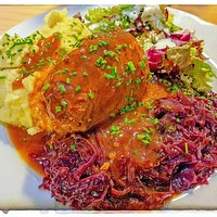 Beef Roulade with Mashed Potatoes, Red Cabbage and Side Salad