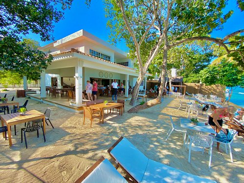 @ Blue Island Punta Rucia restaurant ... inches away from the white sandy beach...
