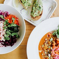 Pictured here: Lobster Poke Bowl, Vegetable Coconut Curry, and Avocado Toast
