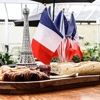 French Breakfast, which include a Pain au chocolat, a croissant and some baguette served with butter and homemade Jam