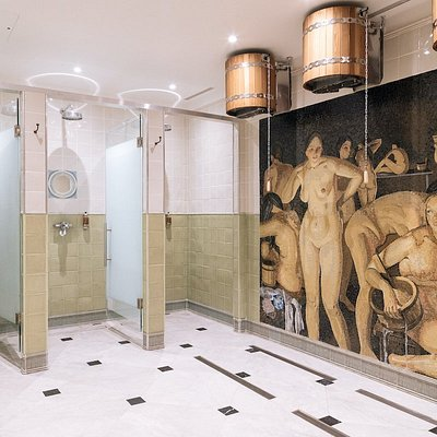 Showers, steam room area