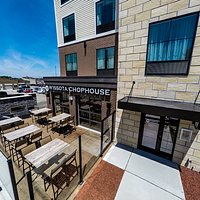 Aerial View of our patio and chophouse entrance