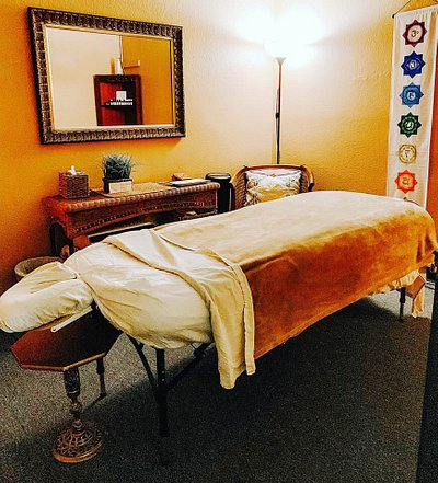 one of the beautiful massage rooms at this boutique spa, a hidden gem in Pasadena!