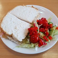 Ham sandwich and side salad