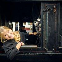 Kom indenfor. Der er adgang til mange vogne og lokomotiver på Danmarks Jernbanemuseum. I kan bl.a. stå i førerhuset på det store damplokomotiv.