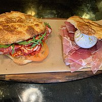 schiacciata with salami spicy and jamon with burrata
