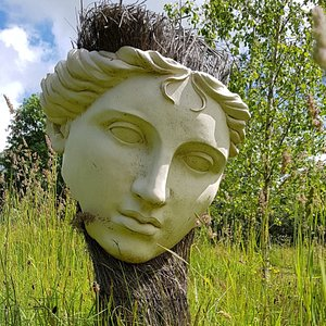 A beautiful sculpture of Artemis in our meadow