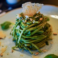 Linguine Pesto with pine kernels and Parmesan shavings