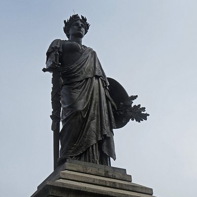 Our Lady of Victories stands watch over Monument Square in Portland, Maine.