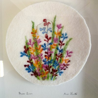 """Flower Lines"" Wool felt with hand needle felt design by Allison Hunter"