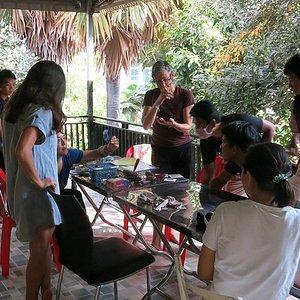 Laura Gunnip holding a print workshop at Open Studio Cambodia