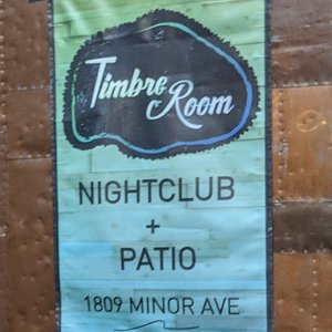 Close up of the Timber Room night club poster.