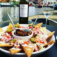 Our homemade nachos and a glass of vino by the canal... the best of Brum? We think so!