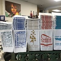 """Tea towels designed right here in the BVI, """"Cheese on Bread!"""" as we on island would say :-)"""