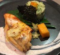 Fischfilet, Pestoreis und Polenta