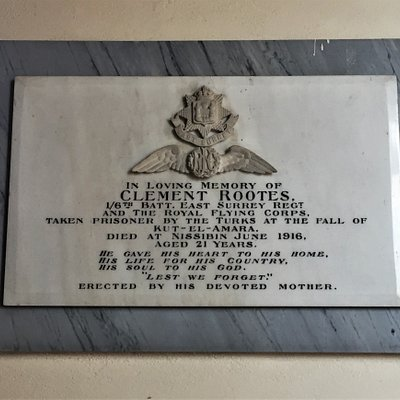 11.  High Halden War Memorial;  Memorial Plaque to Clement Rootes inside St Mary the Virgin church