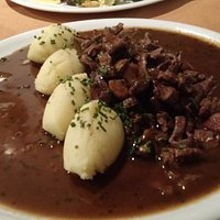 Gebratene Kalbsleber, calf's liver very tender, braised (I assume) to perfection in a rich deeply flavorful sauce.