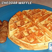Bacon Cheddar Waffle with Side Sausage