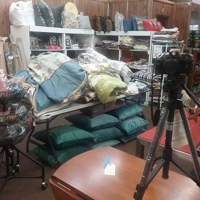 Pillows, furniture, camera