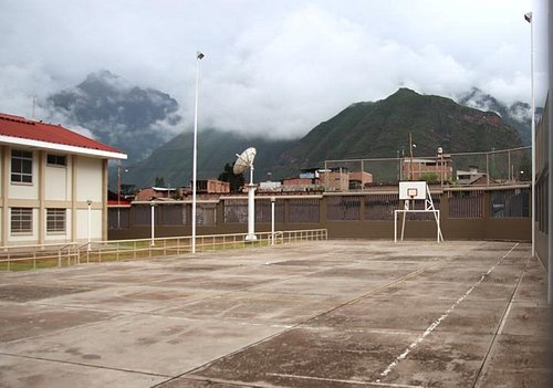 Parking lot and basketball court