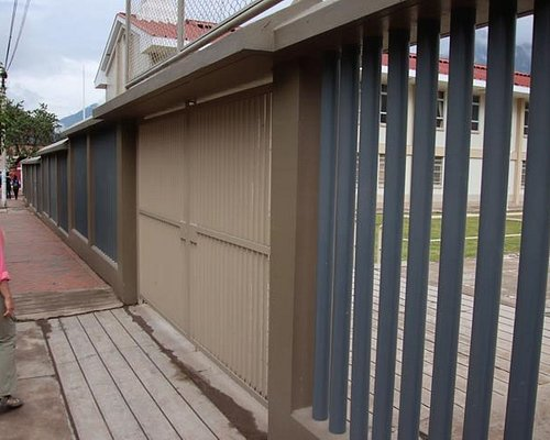Parking lot entry area and decorative fencing