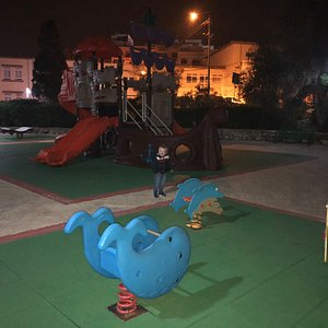 Great pirate ship play area with slides