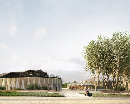Visuel du nouveau Théâtre Michel Galabru, de l'Amphithéâtre Claude Nougaro et de l'espace restauration / billetterie - Livraison fin 2020