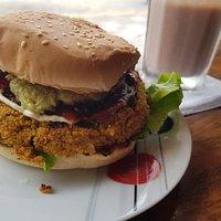 Quinoa burger and drink