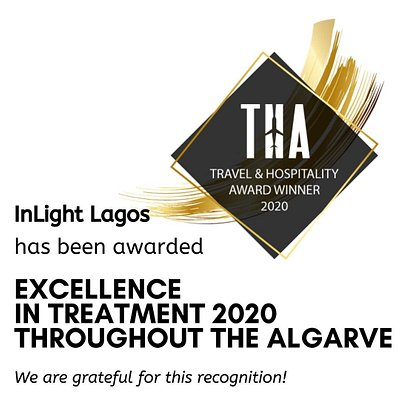 InLight's second award - for Excellence in Treatment 2020 throughout the Algarve/ South Portugal by THA. We are grateful for this recognition of our continuous hard work for our clients!