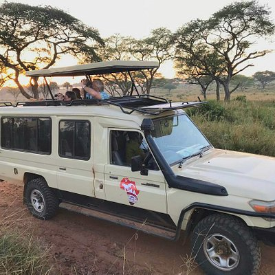 The sunrises of Africa are magical! With 360 degrees game viewing  in our safari convented Landcruisers
