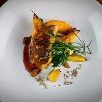 Foie gras, potiron grillé