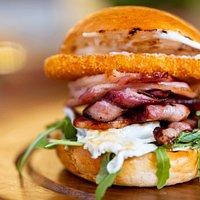 Brunch Burger - bacon, egg, hash brown, rocket, aioli