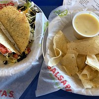 Two taco special with chips and queso