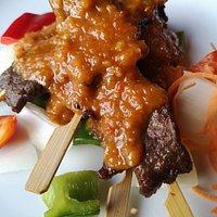 Pan Pan Beef Sticks Sliced Fillet Steak Skewers in Malaysian Style Peanut Sauce