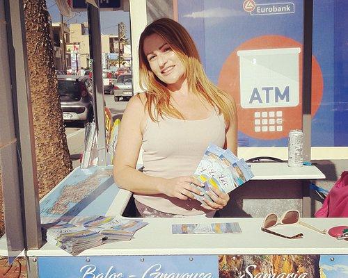 Mystical Crete Tours kiosk in Agia Marina