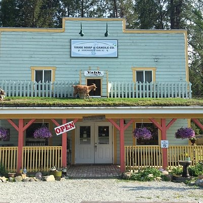 Watch for the cute little soap shop with the goats on the roof!