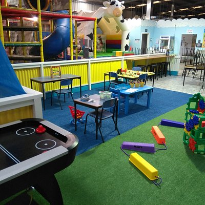 Indoor activities: Air hockey, construction, activity stations regularly changing